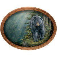 Rocky Outcrop Black Bear Framed Oval Canvas