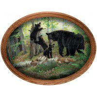 Playtime Black Bears Framed Oval Canvas
