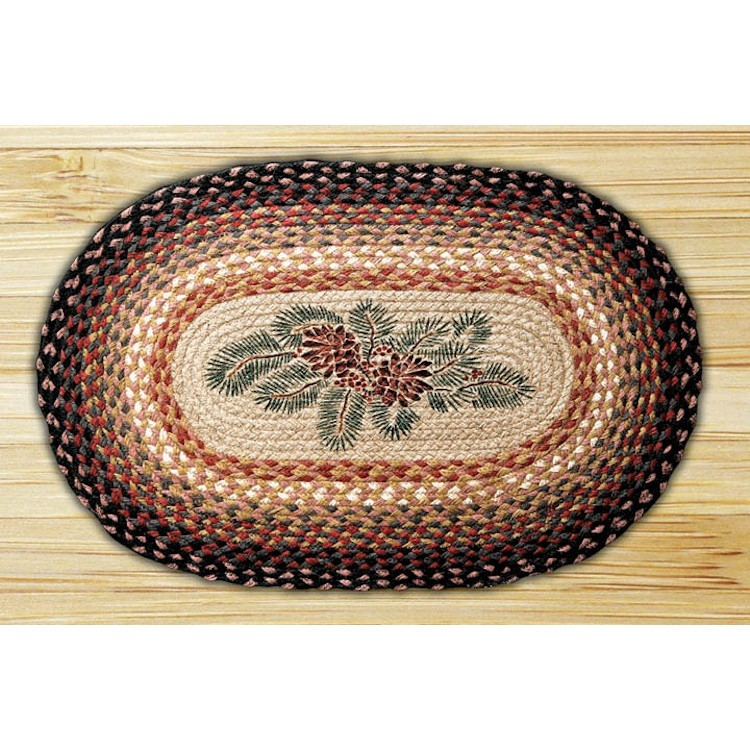 Red Berry And Pine Cone Jute Rug