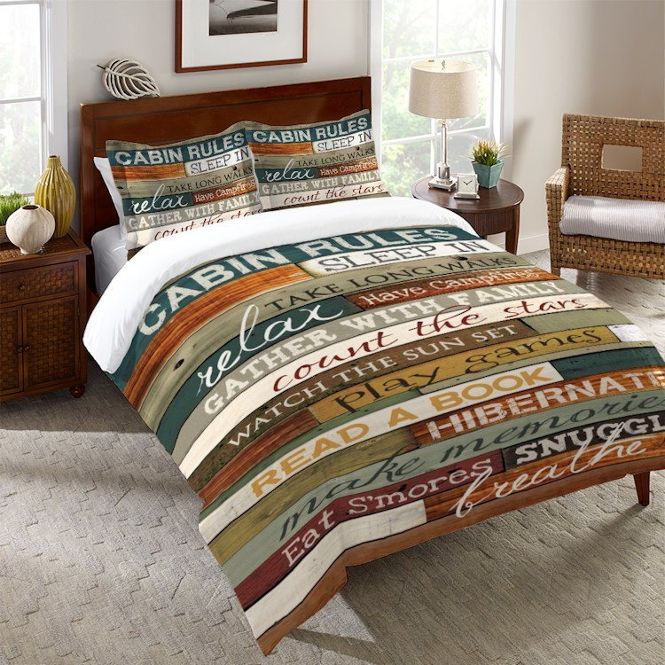 cabin rules duvet covers