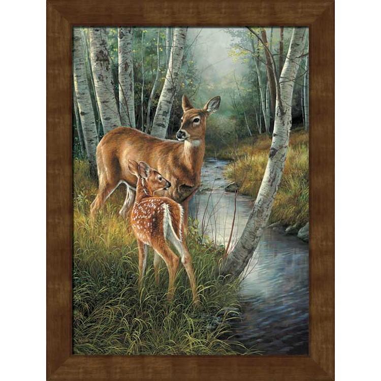Framed Birch Creek Deer Canvas