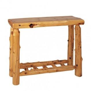 Log Sofa Table with Shelf