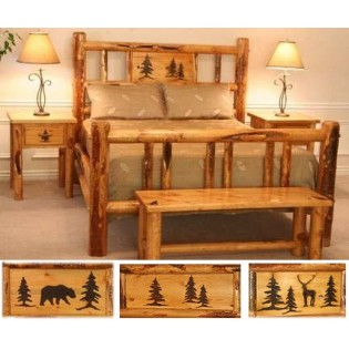 Lodgepole pine log bed with pine cutout