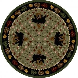 Patchwork Bear Round Rug - Green