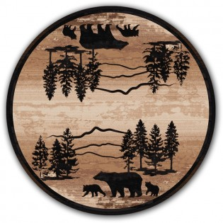 Mountain Shadow Bear Round Rug