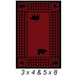 Bear Red Plaid Rug from The Cabin Place!