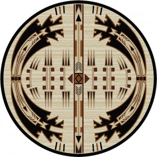Horse Thieves Natural Round Rug