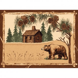 Log Cabin Bear 5x7
