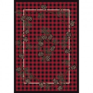 Red Wooded Pines Rug 5x8