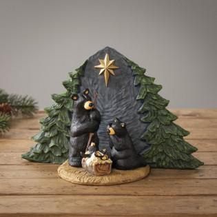 Forest Nativity Bear Family Figurine