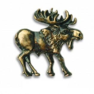 Antique Brass Walking Moose-Right Facing