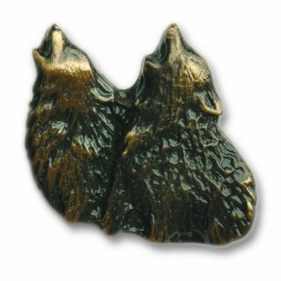 Antique Brass Dual Howling Wolf Knob
