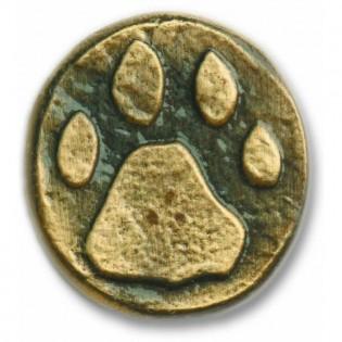 Antique Brass Stone Wolf Track Knob