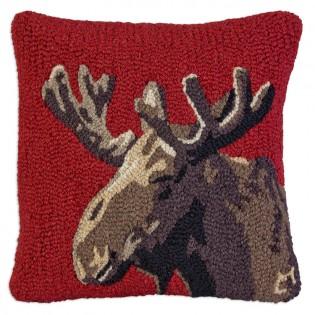 Velvet Moose on Red Wool Pillow
