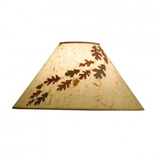 Bark Paper Lamp Shade with Real Oak Leaves