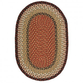Burgundy/Mustard Braided Jute Oval Rugs