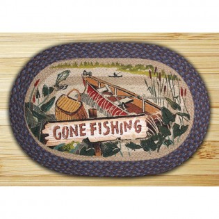 Gone Fishing Oval Rug from The Cabin Place!