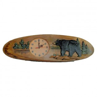 Carved Walking Bear Clock