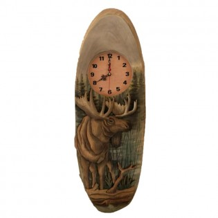 Carved Moose Clock
