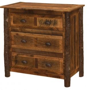 Premium 3 Drawer Barn Wood Dresser with Hickory Legs