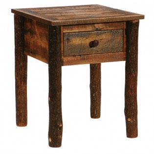 Barn Wood One Drawer End Table with Hickory Legs
