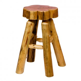 Slab Cedar Log Barstool