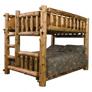 Double/Queen Log Bunk Bed