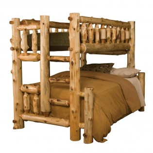 Double/Single Log Bunk Bed