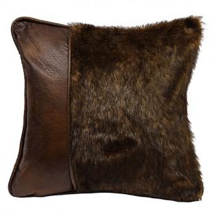Brown Faux Fur & Leather Pillow
