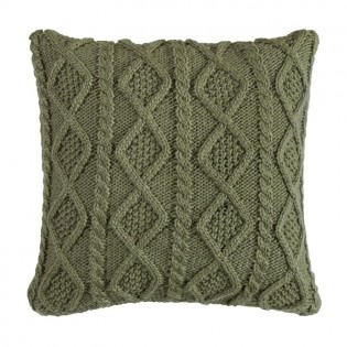 Green Cable Knit Pillow