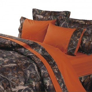 Blaze Orange Camouflage Sheets & Oak Comforter Set from The Cabin Place!