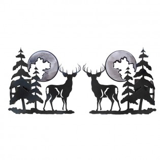 Deer and Pine Curtain Rod Brackets & Tie Backs