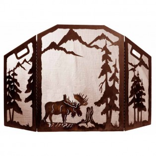 Scenic Moose Fire Place Screen