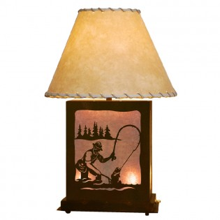 Scenic Fly Fisherman Table Lamp