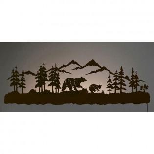 Bear Family Back Lit Wall Art