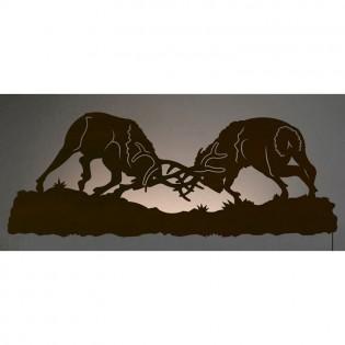 """42"""" Fighting Elk Back Lit Wall Art"""