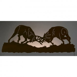 Fighting Elk Back Lit Wall Art