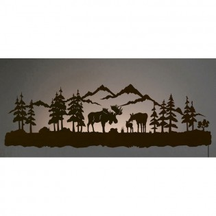 Moose Family Back Lit Wall Art