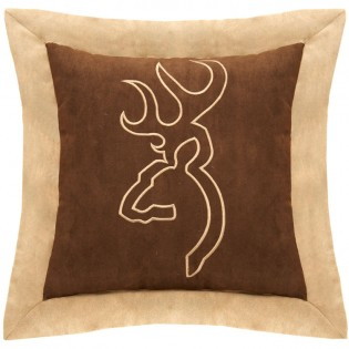 """Brown Buckmark Embroidered 18"""" Pillow"""