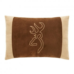 Brown Buckmark Embroidered Oblong Pillow