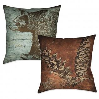 Reversible Lodge Bear Pillow
