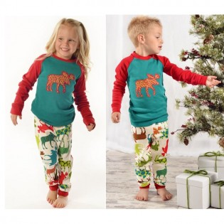 Patterned Moose Kids PJ Set