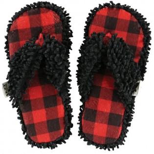 Moose Plaid Spa Slippers