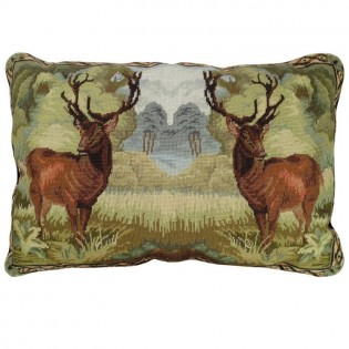 Double Elk Needlepoint Pillow