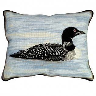 Peaceful Loon Needlepoint Pillow