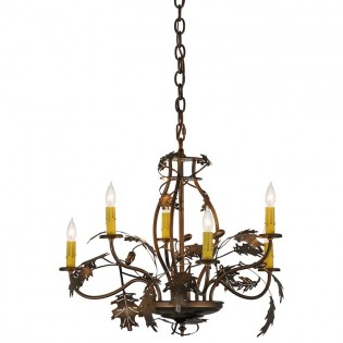 Oak Leaf & Acorn 6 Light Chandelier