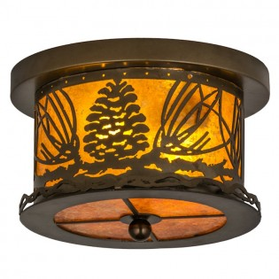 Mountain Pine Flushmount Ceiling Light - Light On