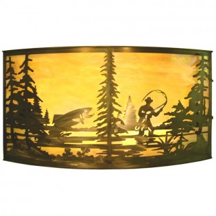 """42"""" Fly Fishing Wall Sconce"""