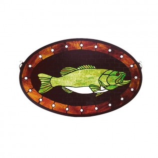 Bass Plaque Stained Glass Window