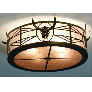 Click to buy Longhorn Steer Ceiling Light